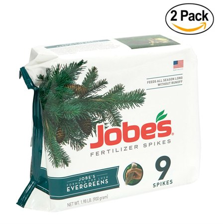 Jobe's Evergreen Fertilizer Spikes 11-3-4 Time Release Fertilizer for Juniper, Spruce, Cypress and All Other Evergreen Trees, 9 Spikes per Package - Pack Of