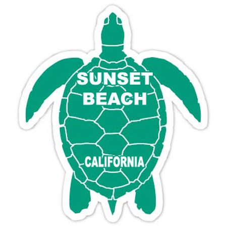 Sunset Beach California Souvenir 4 Green Turtle Shape Decal Sticker