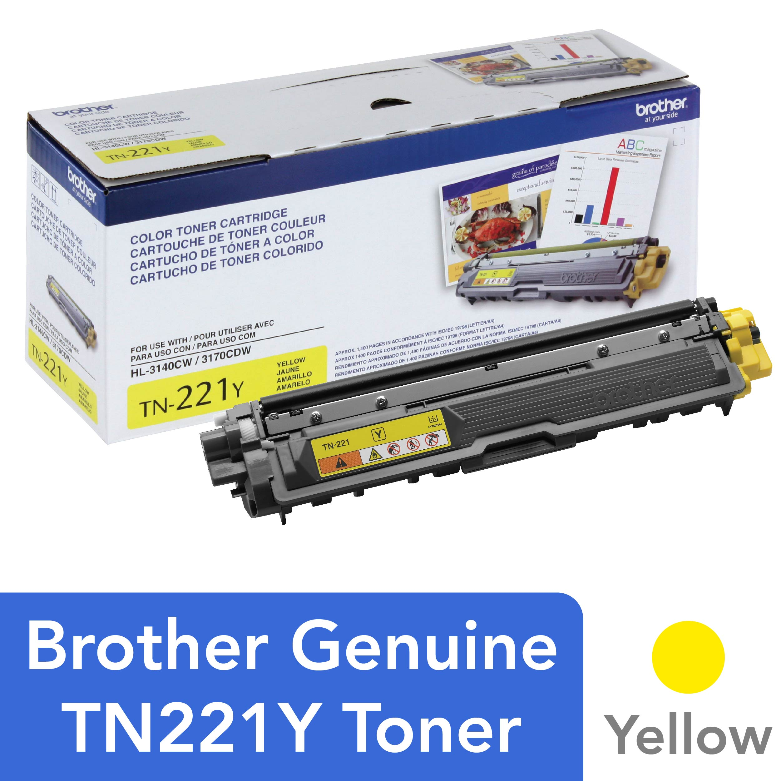 Brother TN221Y Toner, Yellow