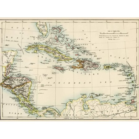 Map of West Indies and the Caribbean Sea, 1800s Antique Print Wall Art