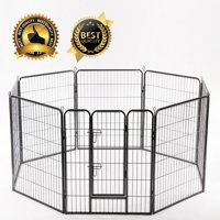 "40"" Folding Metal Dog Exercise Fence Heavy Duty Pet Playpen W/ Locks"