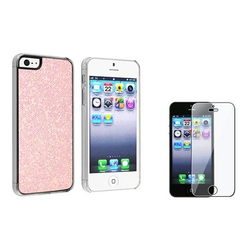 INSTEN Light Pink Glitter Rear Hard Case for Apple iPhone 5 5s + Screen Protector