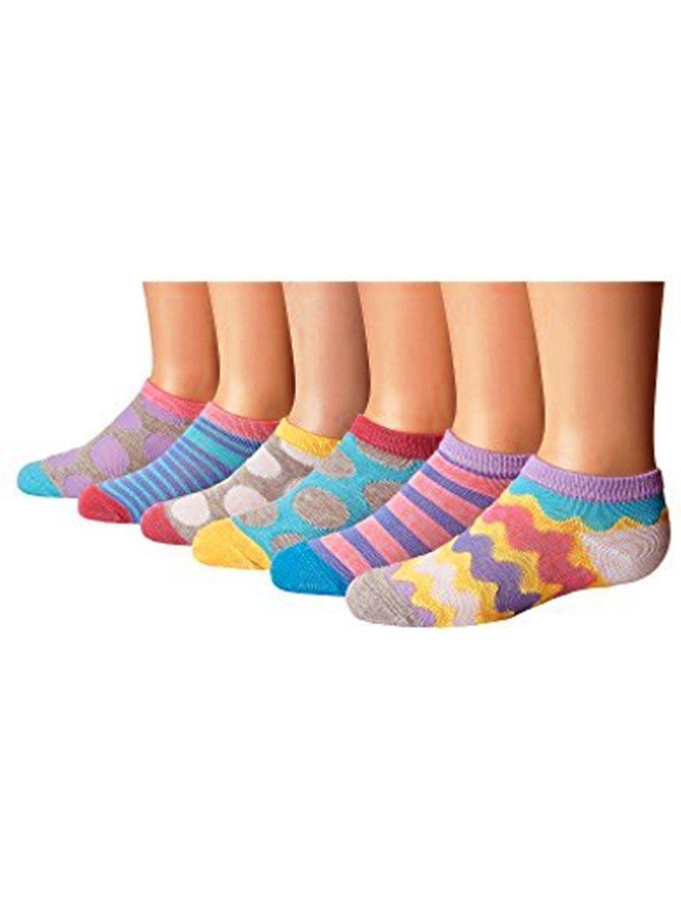Jefferies Socks Little Girls Multi Stripe Dot 6 Pair Socks Pack