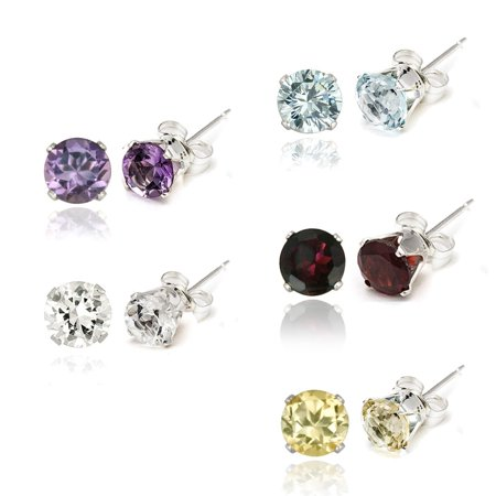 Sterling Silver Amethyst, Blue Topaz, Citrine & Garnet Stud Earrings Set - 6mm Amethyst Citrine Jewelry Set