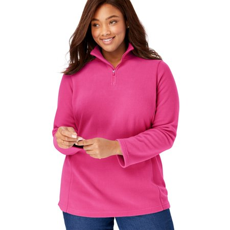 0e3112be6d1 Woman Within - Plus Size Quarter-Zip Microfleece Pullover - Walmart.com