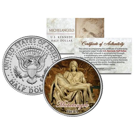 - MICHELANGELO * PIETA * Statue Jesus Sculpture Colorized JFK Half Dollar US Coin