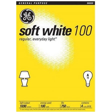 GE 41036 Standard Light Incandescent Bulbs E26 Base 100W (3 Packs of  4 (100w G40 Incandescent Bulb)