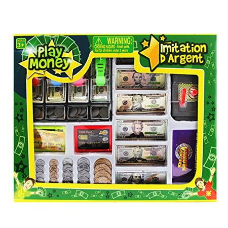 Educational Play Money Set for Kids Bills, Coins, Credit Card, All-inclusive money learning set includes adorable sturdy wallet with pockets for toy money bills, coins.., By OKK TOYS