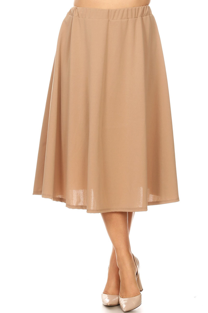 Women's Plus Size Solid Midi Skirt