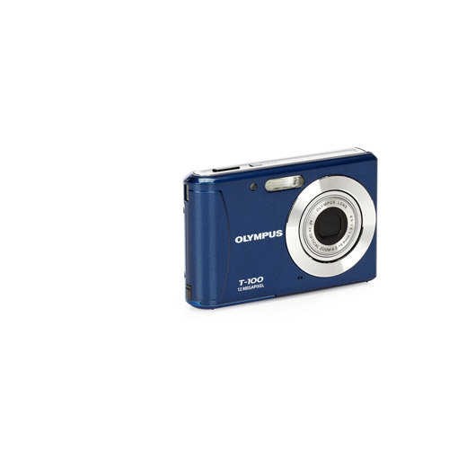 """Olympus T100 Blue 12MP Digital Camera, 3x Optical Zoom, 2.4"""" LCD, AF Tracking, Creative Art Filters"""