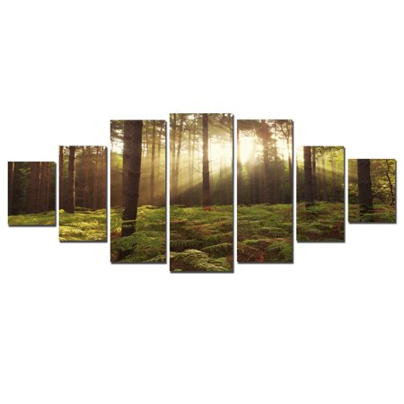 Startonight Huge Canvas Wall Art A Morning In TheTropical Forest, USA Large Home Decor, Dual View Surprise Artwork Modern Framed Wall Art Set of 7 Panels Total 39.37 x 94.49 - Huge Wall Decor