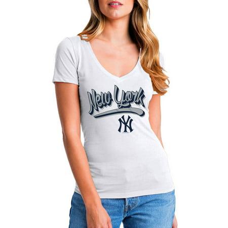 MLB New York Yankees Women's Short Sleeve White Graphic