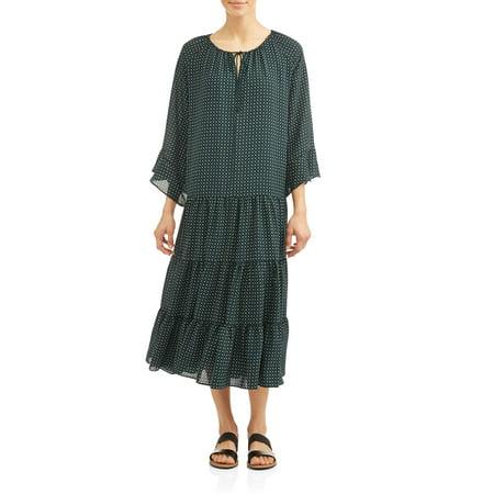 Women's Candice Tiered Ruffle Bell Cuff Dress