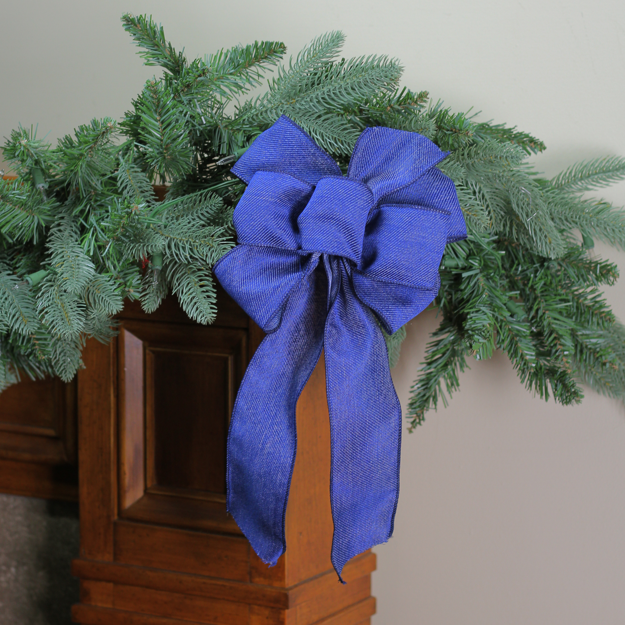 "8"" x 16"" Solid Blue Denim 6 Loop Christmas Bow Decoration"