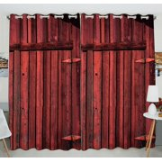 GCKG Old Red Barn Wood Door Window Curtain Kitchen Curtain Size 52(W) x 84 inches (Two Piece)