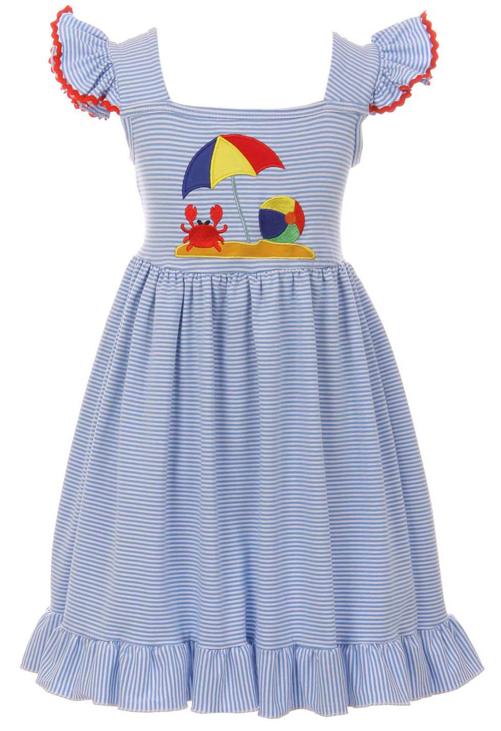 e95b4b825e4ee Toddler Girls Lovely Sleeveless Stripe Crab Birthday Party Flower Girl  Dress Blue 2T XS (P201457P)
