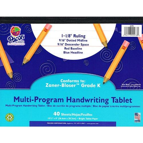 "Pacon Grade K Multi-program Handwriting Tablet - 40 Sheets - Both Side Ruling Surface - Ruled 8"" X 10.50"" - White Paper - Assorted Cover - 1each (pac-2478)"