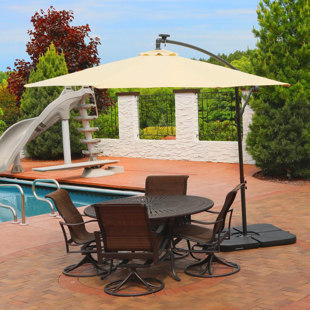 sunnydaze 10-foot outdoor steel offset solar led patio umbrella with Base for 10 Ft Umbrella