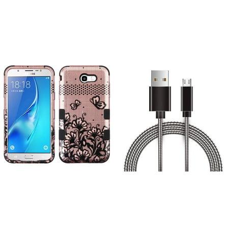 Samsung Galaxy J7 Sky Pro 4G LTE - Bundle: TUFF Series [Military Grade - MIL-STD 810G-516.6] Case (Lace Flower), Metal [Aluminum Connectors] Data Transfer Charging Micro USB Cable, Atom Cloth