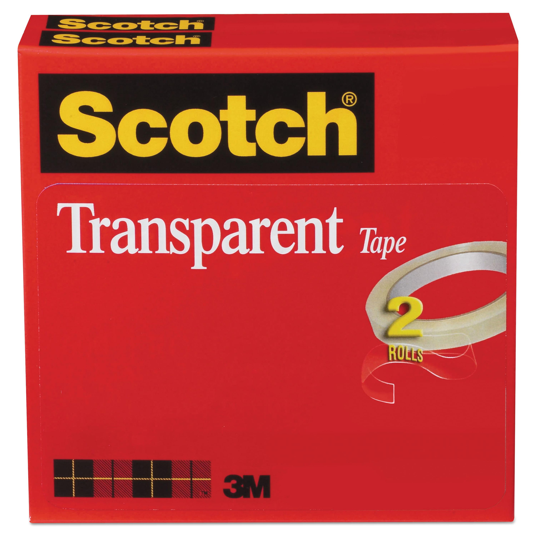Scotch Pack of 1 C 600 Premium Transparent Film Tape 600 1 1//2 in 72 yd -