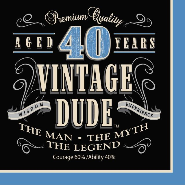 Party Creations Vintage Dude 40th Birthday Lunch Napkins, 16 Ct