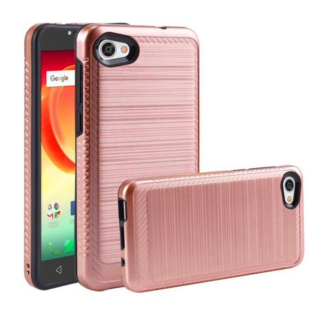 Alcatel Crave PulseMix A50 Hybrid Case [Rose Gold Black] Slim