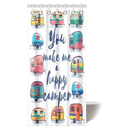 MYPOP Camper Shower Curtain, You Make Me Happy Camper Motivational Quote with Caravans Retro Style Travel Graphic Bathroom Shower Curtain with Hooks, 36 X 72 Inches (Help Me Shower Curtain)