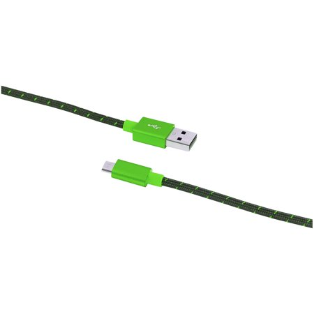 Blackweb 10' Sync & Charge Cable with Braided Micro USB Connector, Green