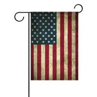 POPCreation Vintage Memorial Day Independence USA Flag Garden Flag Banner 12x18 Inches Decorative Patriotic Summer Independence 4th Welcome Flag for Anniversary Home Outdoor Garden