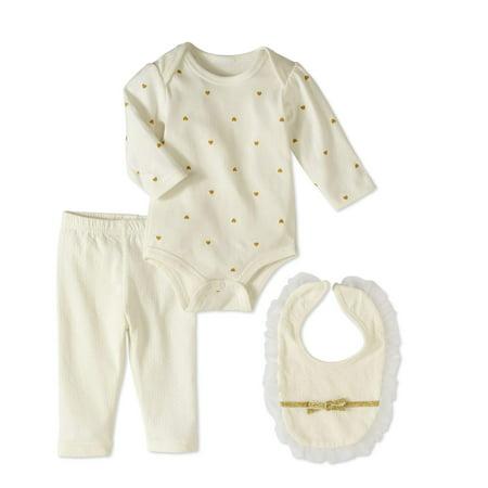 Bon Bebe Newborn Girl Bodysuit  Pants   Bib  3Pc Outfit Set