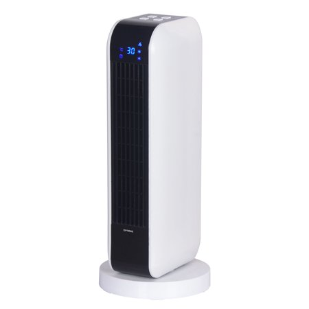 Optimus 17 in. Oscillating Tower Heater w/ Remote, Digital Temperature Readout & Setting