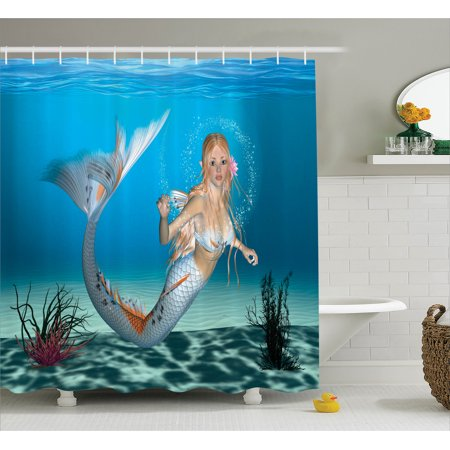 Girl Shower Curtain Set, Digital Graphic of a Mermaid in Tropical Ocean Magical Legendary Fairytale Creature, Bathroom Decor,  Navy Ocean Blue, by Ambesonne - Girls In Shower