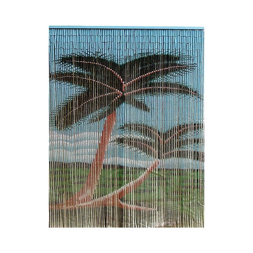 Bamboo54 Natural Bamboo Double Palm Tree Single Curtain Panel