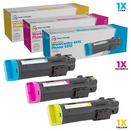 LD Compatible Xerox Phaser 6510 / WorkCentre 6515 Set of 3 High-Yield Toner Cartridges: 106R03477 Cyan, 106R03478 Magenta & 106R03479 Yellow