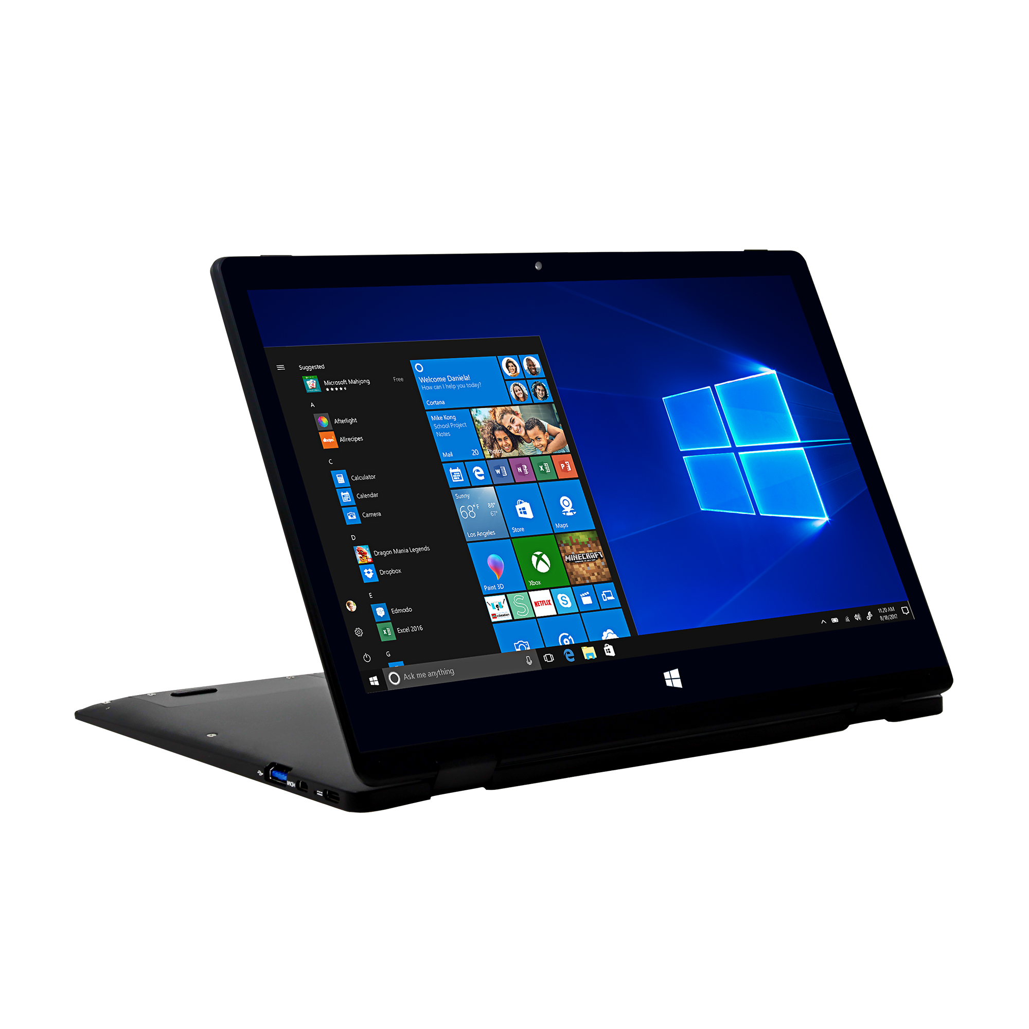 "EVOO 11.6"" Convertible Touchscreen Laptop - Elite Series, Windows 10 S, Windows Hello (Fingerprint Scanner), Windows Ink, (Smart Stylus Included), Cortana, Micro HDMI, Black"