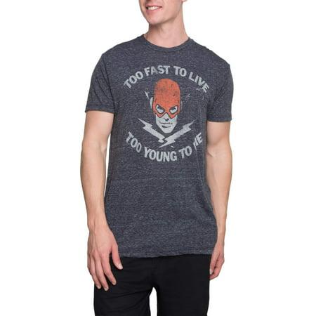 Mens Dc Too Fast Flash Short Sleeve Graphic Crew Neck Tee Shirt