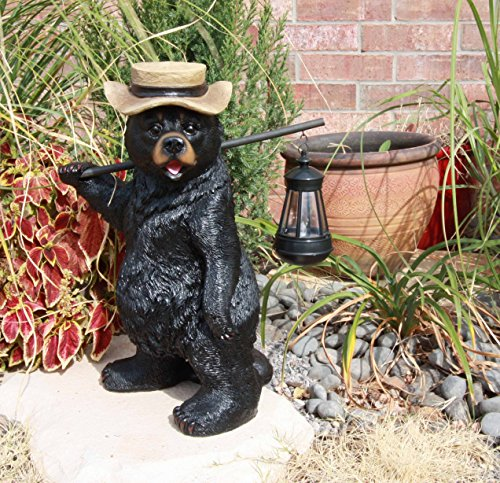Atlantic Collectibles Rustic Forest Black Bear Outdoor Hiking Figurine W/ Solar LED Light Lantern Lamp
