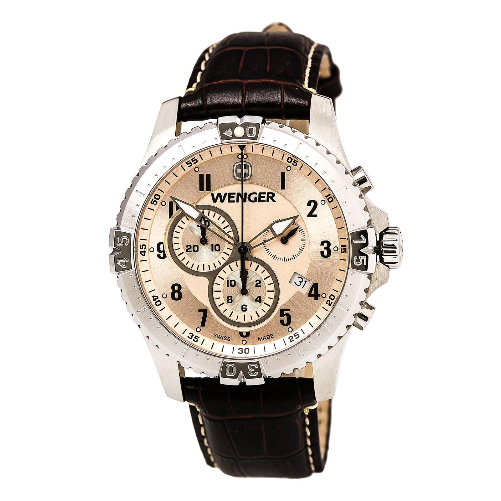 Wenger 77052 Men's Squadron Chrono Leather Strap Antique Silver Dial Chronograph Watch