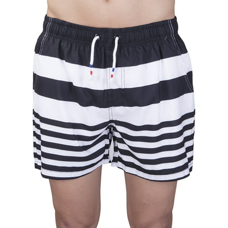 e1f8ccf76208 LELINTA Mens Stripe Swim Trunks - Beach Board Watershort Swimsuit - Cargo  Pockets - Drawstring Waist
