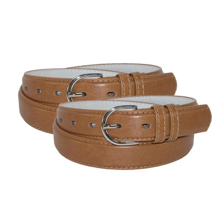 CTM® Women's Leather 1 1/8 Inch Dress Belt (Pack of 2)