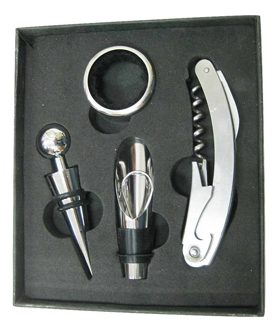 Zaltana Corkscrew wine Bottle Opener(4pcs set,Opener,Anti drop collar,Stoperx2) WO10 by