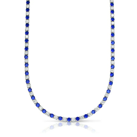 22.00 CTTW Sapphire And White SImulated Diamond Tennis Necklace in 18K White (Gold Tennis Necklace)