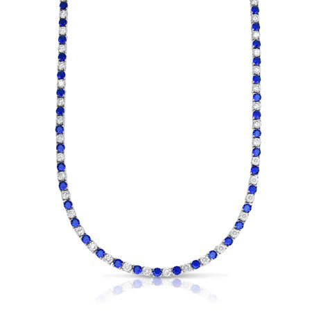 - 22.00 CTTW Sapphire And White SImulated Diamond Tennis Necklace in 18K White Gold