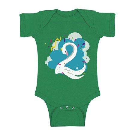 Awkward Styles Swan Birthday Baby Bodysuit Short Sleeve Birthday Gifts for 2 Year Old Baby Girl Birthday Bodysuit Birthday Bodysuit for Baby Boy 2nd Birthday Party Outfit I'm Two One Piece