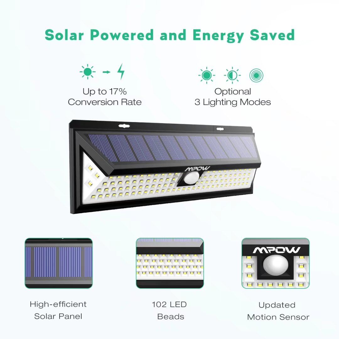 Mpow 102 Led Motion Sensor Solar Light Bright Wall Large Lamp Ca Gps Wiring Diagram Panel 120 Sensing Angle Weatherproof Great Outdoor For Garden Driveway