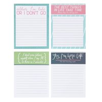 Funny Always Late Notepads - 4-Pack Memo Note Pads for Work and Office, Novelty Gag Gift for Adult, Coworker, 4 Assorted Sayings, 50 Sheets Each, 4 x 5.2 Inches
