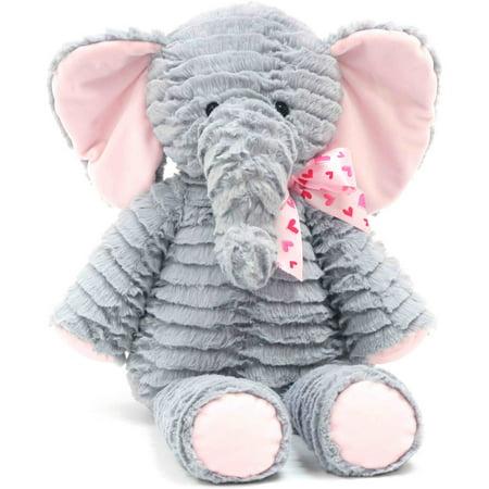 valentine 21 stuffed soft and cuddly elephant with pink ribbon - Elephant Valentine
