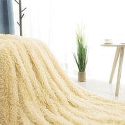 Reversible Lightweight Soft Long Shaggy Faux Fur Pale Yellow Blanket Twin Size