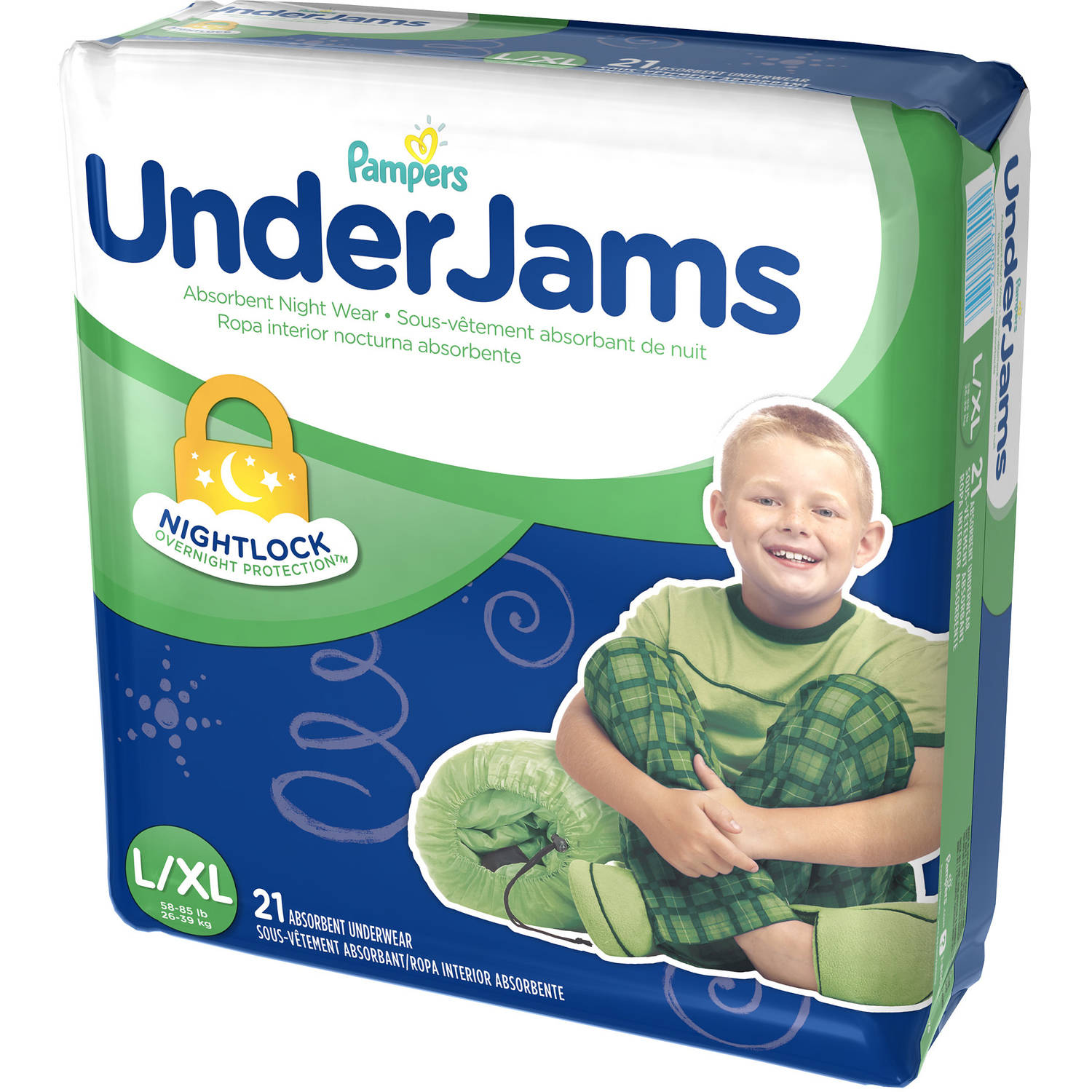 Pampers - Boys Underjams Absorbent Underwear Mega Pack 21 Count, Size L/XL
