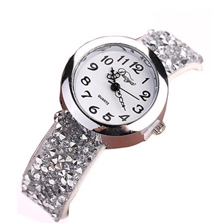 Beaded Watch Band Book (Duoya Small White Band Silver Crystal Beads Luxury Women Flux Leather Band Woman Watch-384 )